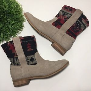 TOMS Taupe Suede Leather Aztec Blanket Boot Cowboy